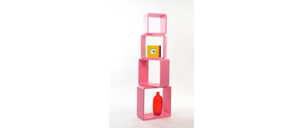 Set de 4 estanter�as cuadradas POP color rosa