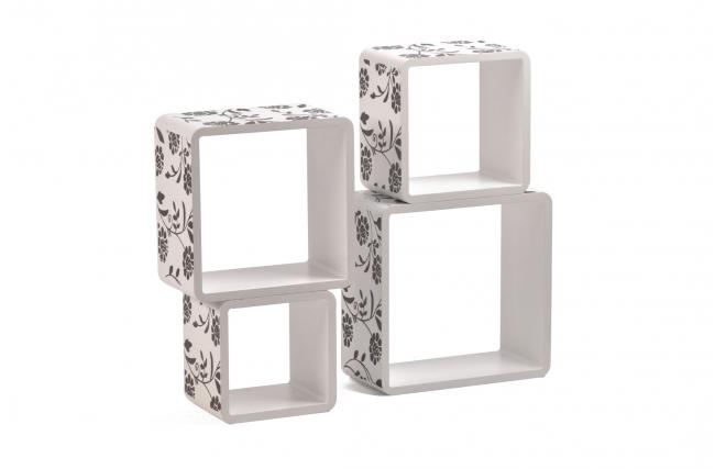 Set de 4 estanter as cuadradas pop impresas color blanco for Estanterias cuadradas