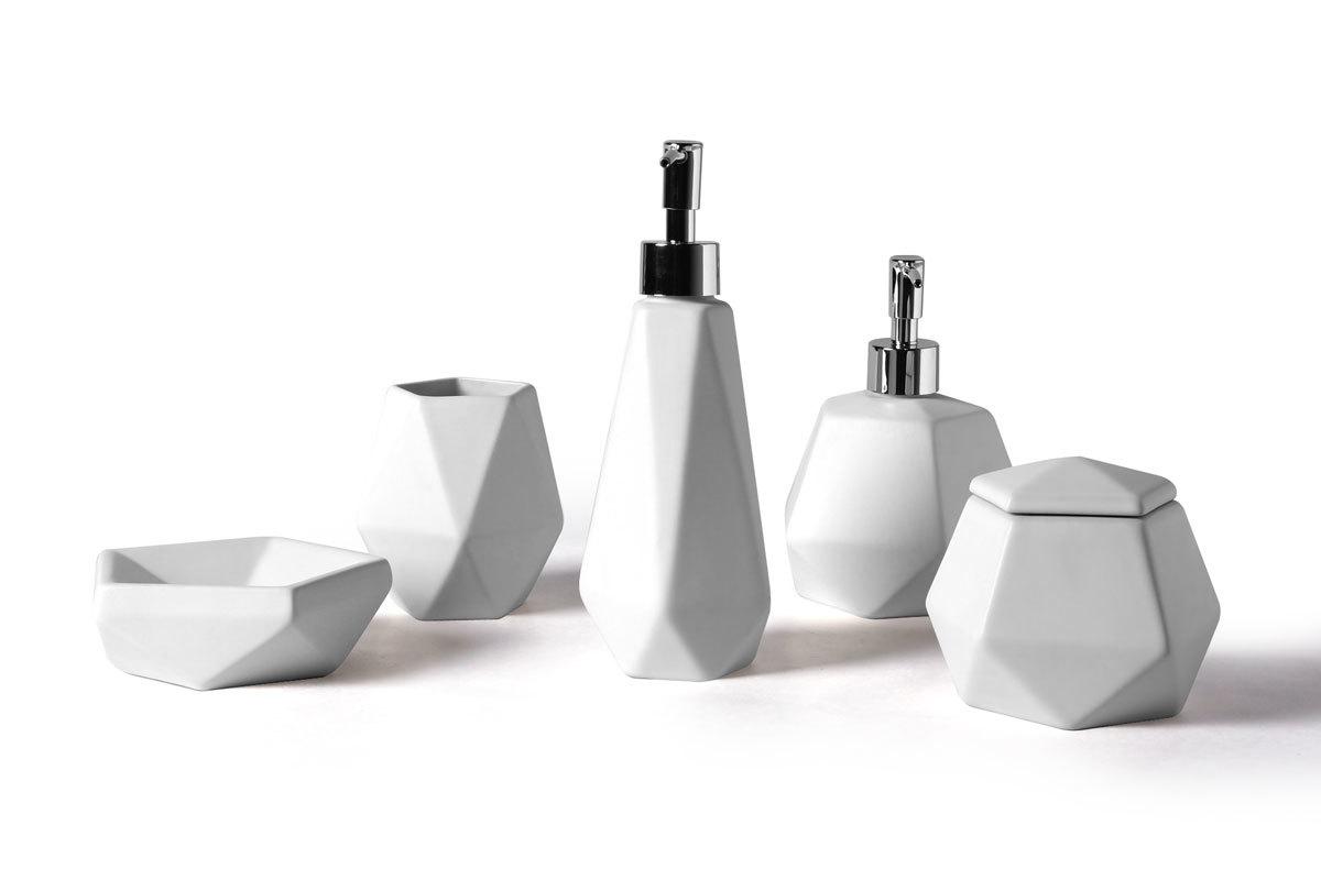 Set de accesorios de ba o dise o cer mica blanco cubic for Set accesorios bano