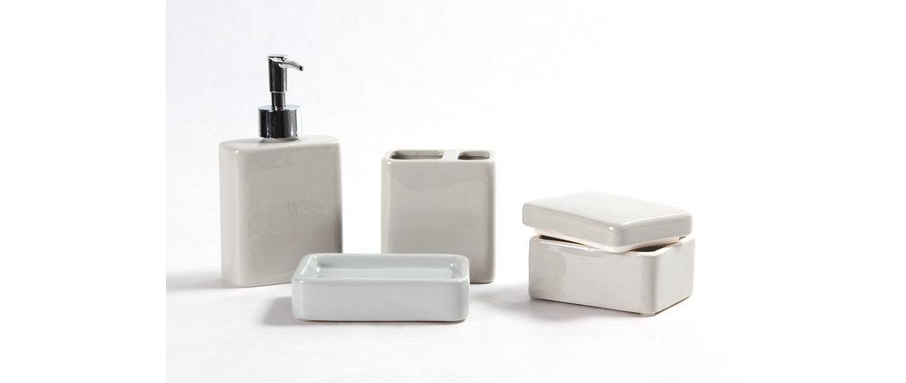 Set de accesorios de baño diseño cerámica gris DJERBA ...