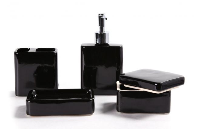 Accesorios Baño Gris:Set de accesorios de baño diseño cerámica negra DJERBA – Miliboo