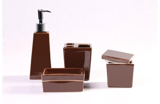 Set De Baño Ceramica:Set de accesorios de cuarto de baño diseño cerámica chocolate