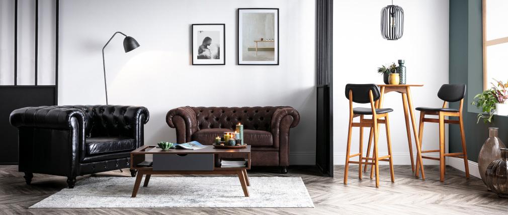 Silla de bar madera de nogal y negro 75 cm NORDECO