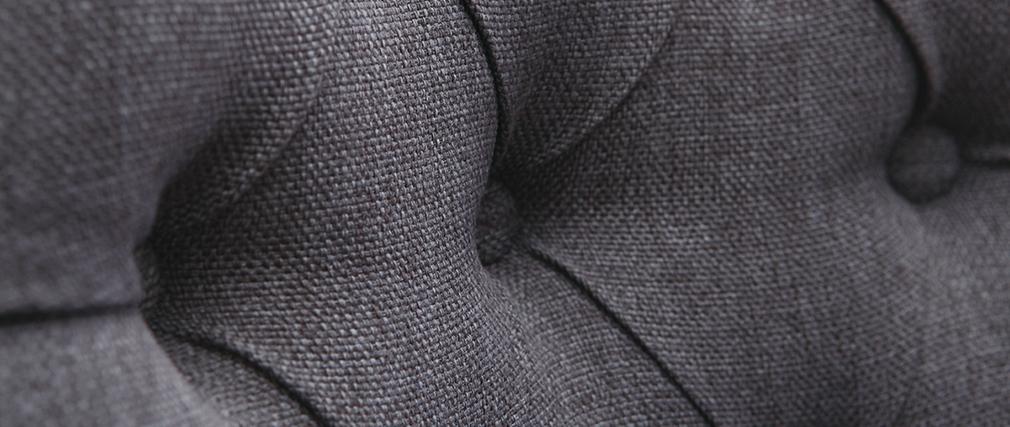 Silla de comedor estilo clásico tejido gris oscuro patas madera clara VOLTAIRE