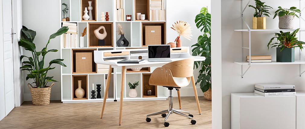 Silla de escritorio blanco y madera clara con ruedas BENT