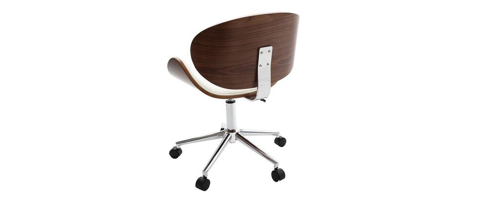 Silla de escritorio diseño blanco y medera WALNUT