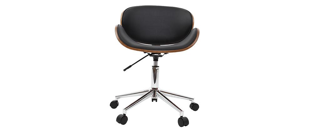 Silla de escritorio diseño negro y madera WALNUT