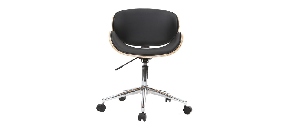 Silla de escritorio diseño PU blanca y madera clara WALNUT