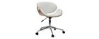 Silla de escritorio diseño PU blanco y madera clara WALNUT