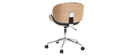 Silla de escritorio diseño PU negro y madera clara WALNUT