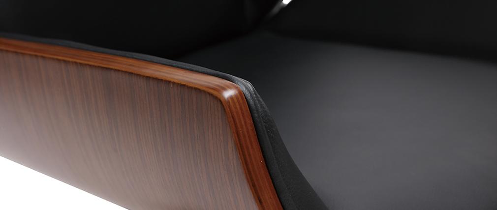 Silla de escritorio madera oscura y negra CURVED
