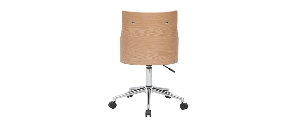 Silla de escritorio moderna blanca y madera clara con cojín integrado MAYOL