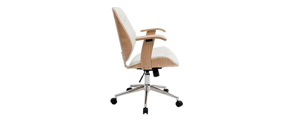Silla de escritorio moderna blanca y madera clara YORKE