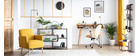 Silla de escritorio moderna negro y madera oscura YORKE