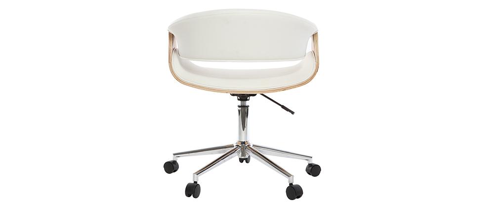 Silla de escritorio moderna polipiel blanca/madera clara ARAMIS