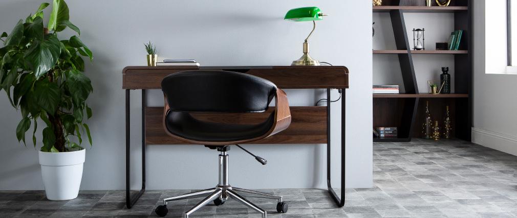 Silla de escritorio moderna polipiel blanco y nogal ARAMIS
