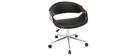 Silla de escritorio moderna polipiel negro y nogal ARAMIS