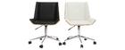Silla de escritorio moderna PU blanca y madera clara MELKIOR