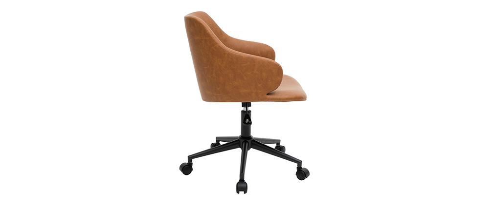 Silla de escritorio moderno en tejido marrón HEMMY