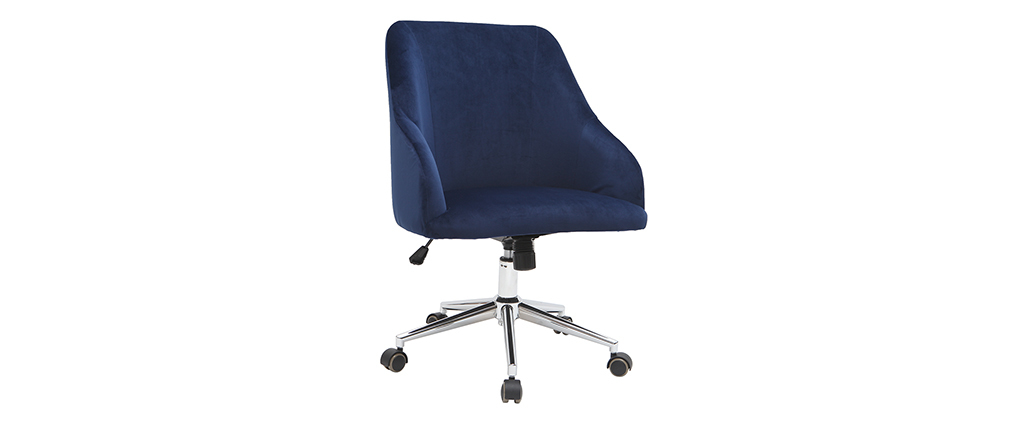 Silla de escritorio terciopelo azul oscuro SCARLETT
