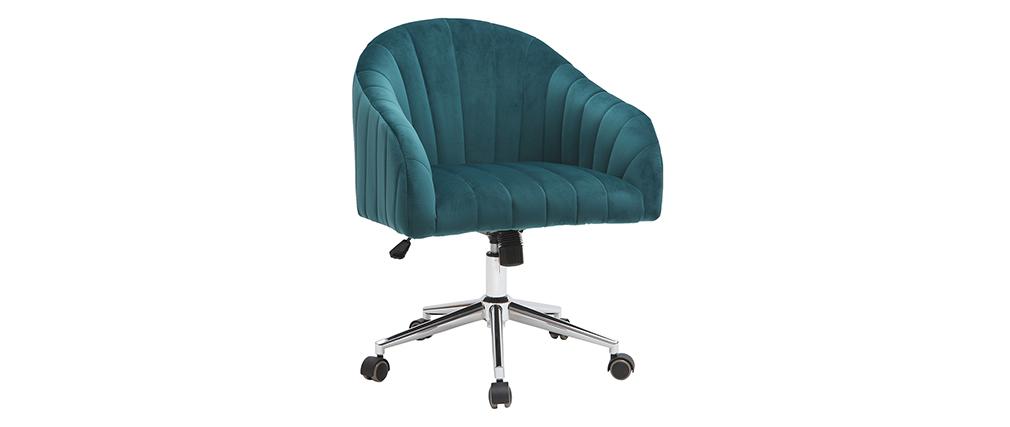 Silla de escritorio terciopelo azul petróleo ROMI