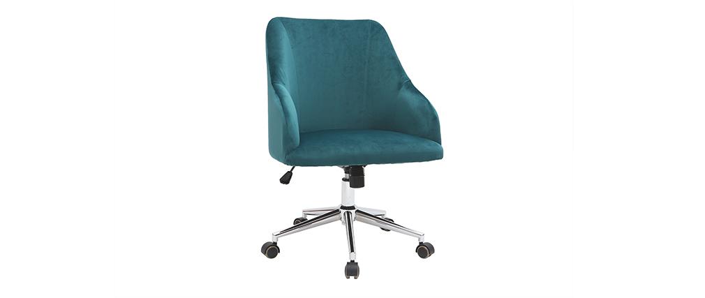 Silla de escritorio terciopelo azul petróleo SCARLETT
