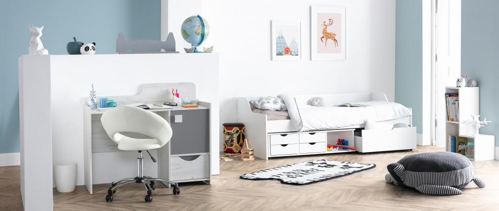 Silla de oficina de diseño blanca con ruedas PINTO