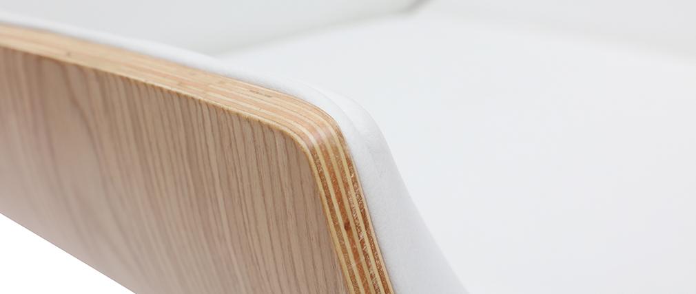 Silla de oficina madera clara y blanca CURVED