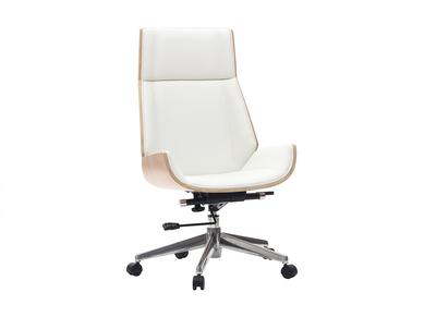 Silla de oficina moderna madera clara y blanca CURVED