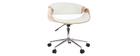 Silla de oficina moderna polipiel blanca/madera clara ARAMIS