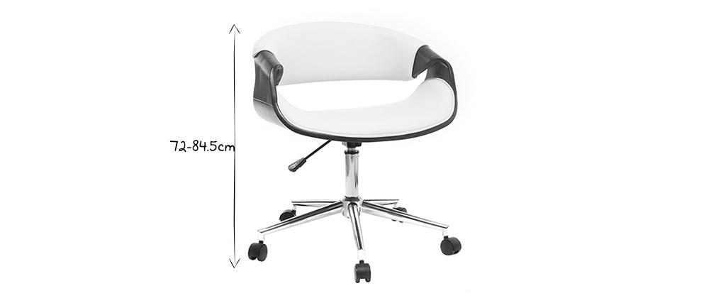 Silla de oficina moderna polipiel blanco y nogal ARAMIS