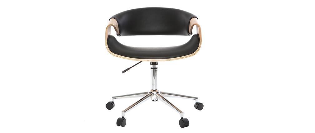 Silla de oficina moderna polipiel negro/madera clara ARAMIS
