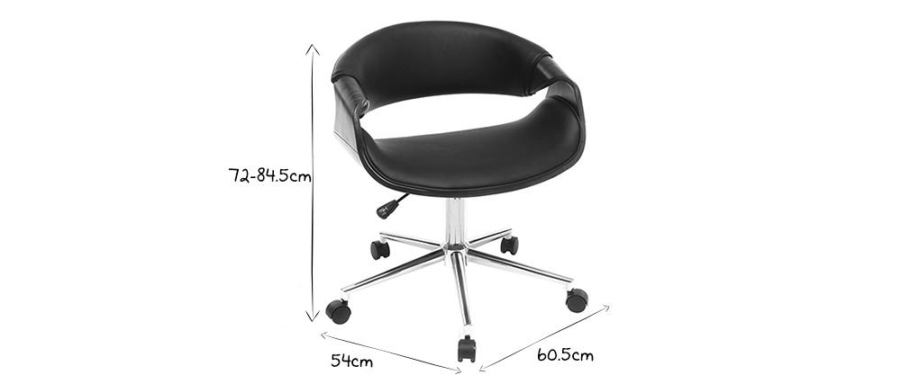 Silla de oficina moderna polipiel negro y nogal ARAMIS