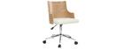Silla de oficina moderna PU blanca y madera clara MAYOL