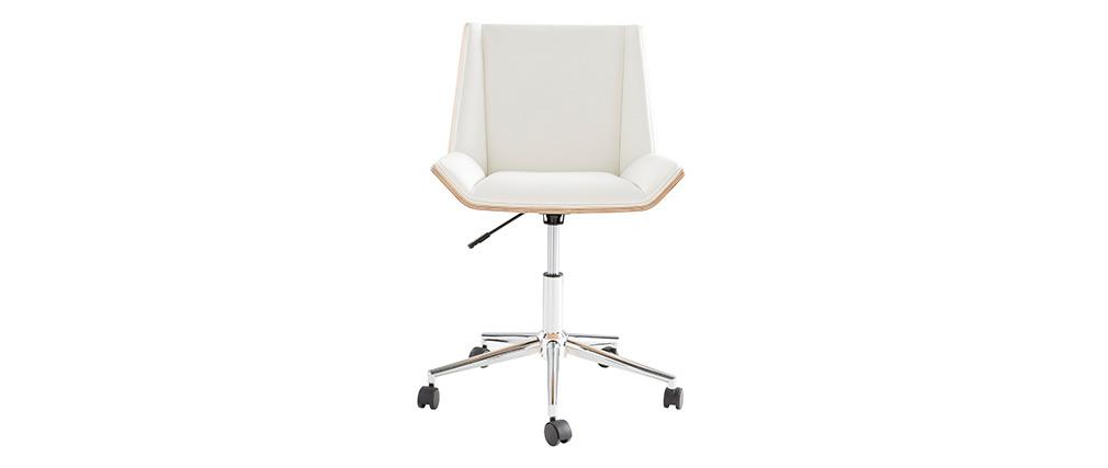 Silla de oficina moderna PU blanca y madera clara MELKIOR