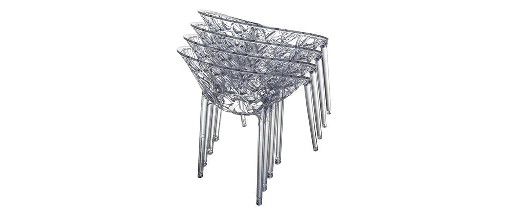 Silla diseño ARBOL apilables gris lote de 4