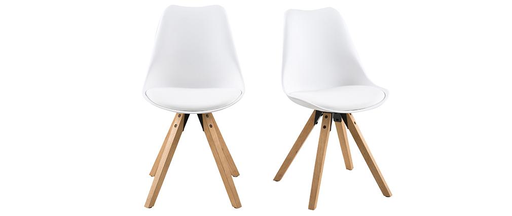 Silla diseño blanco y patas madera clara lote de 2 NADJA