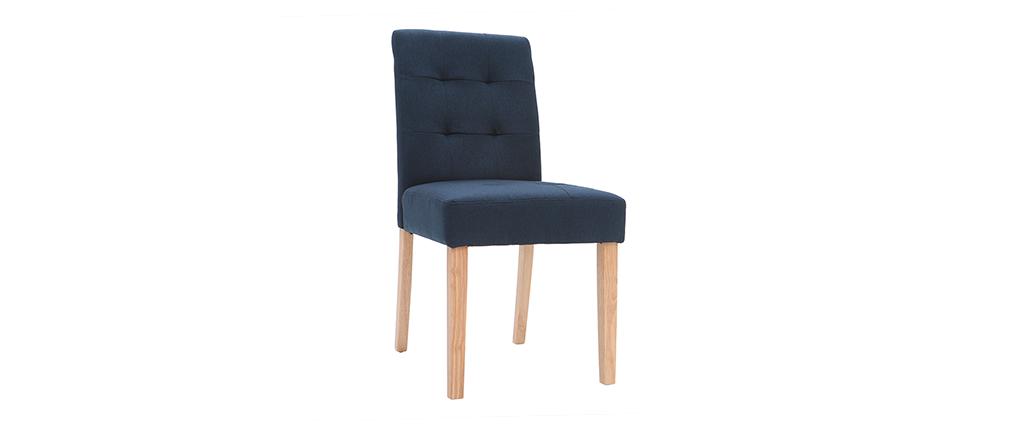 Silla diseño capitoné tejido azul patas madera lote de 2 ESTER