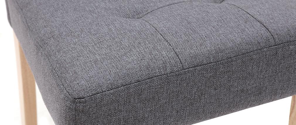 Silla diseño capitoné tejido gris oscuro patas madera lote de 2 ESTER
