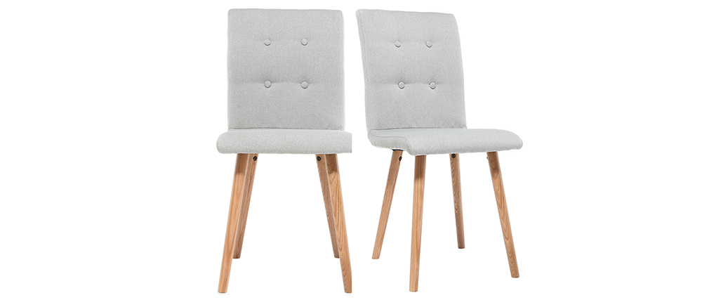 Silla diseño gris claro y madera lote de dos HORTA