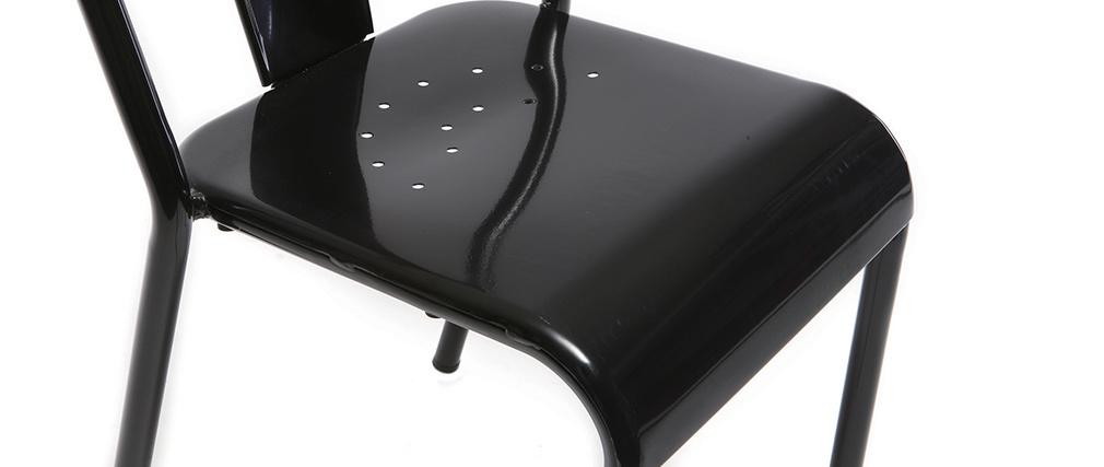 Silla diseño metal negro lote de 2 EVAN
