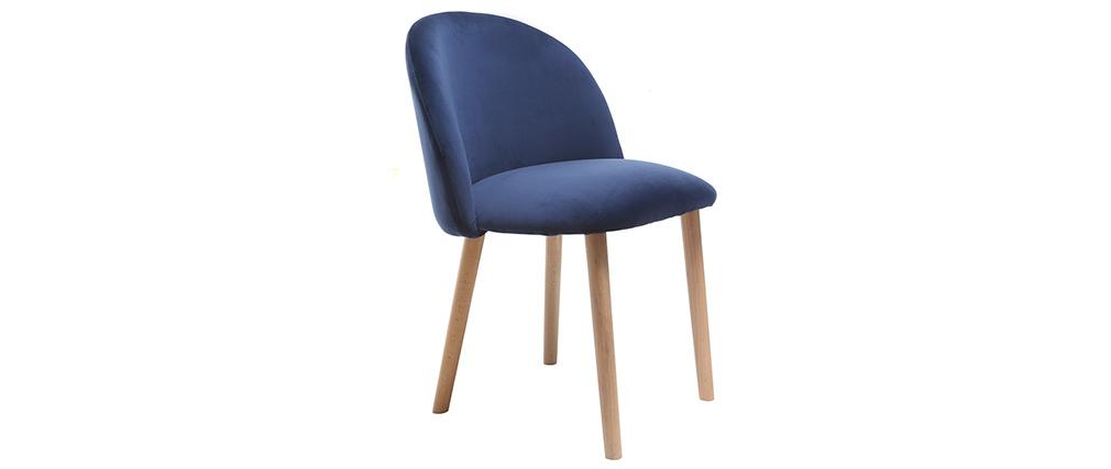 Silla diseño terciopelo azul oscuro y madera CELESTE