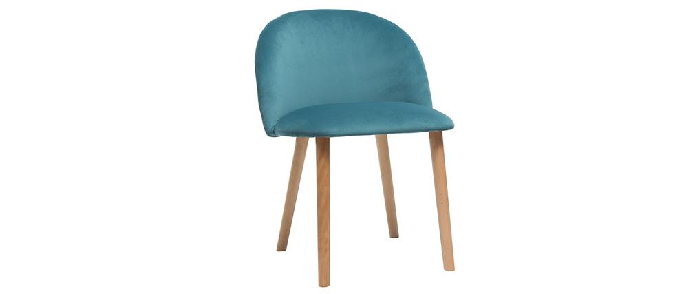 Silla diseño terciopelo azul petróleo y madera CELESTE