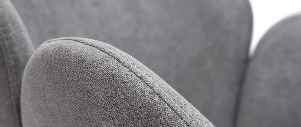 Silla en tejido efecto terciopelo gris RHAPSODY
