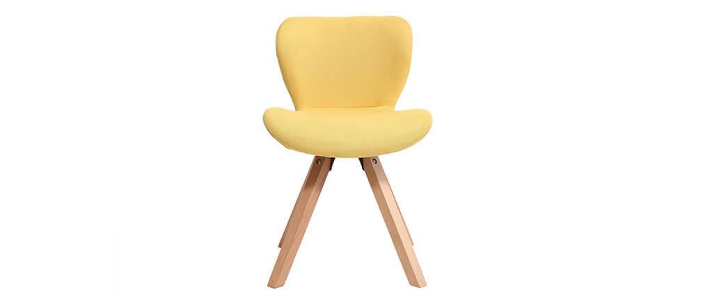 Silla escandinava tejido amarillo patas madera clara ANYA