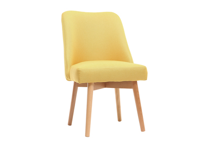 Silla escandinava tejido amarillo patas madera clara LIV
