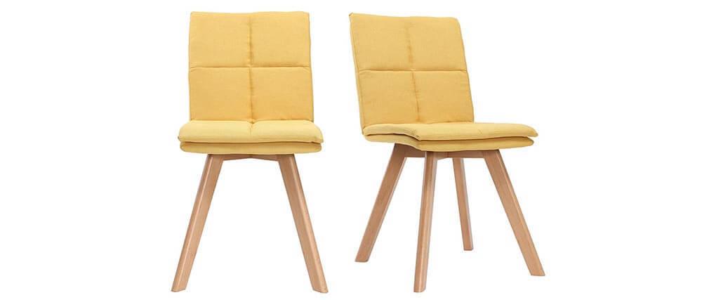 Silla escandinava tejido amarillo patas madera clara lote de 2 THEA