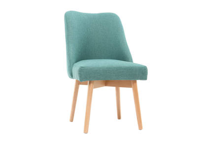 Silla escandinava tejido azul patas madera clara LIV