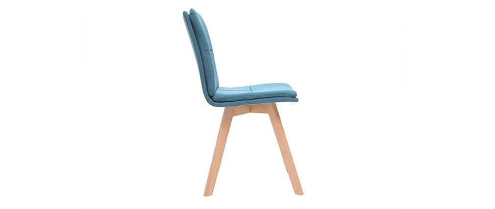 Silla escandinava tejido azul patas madera clara lote de 2 THEA