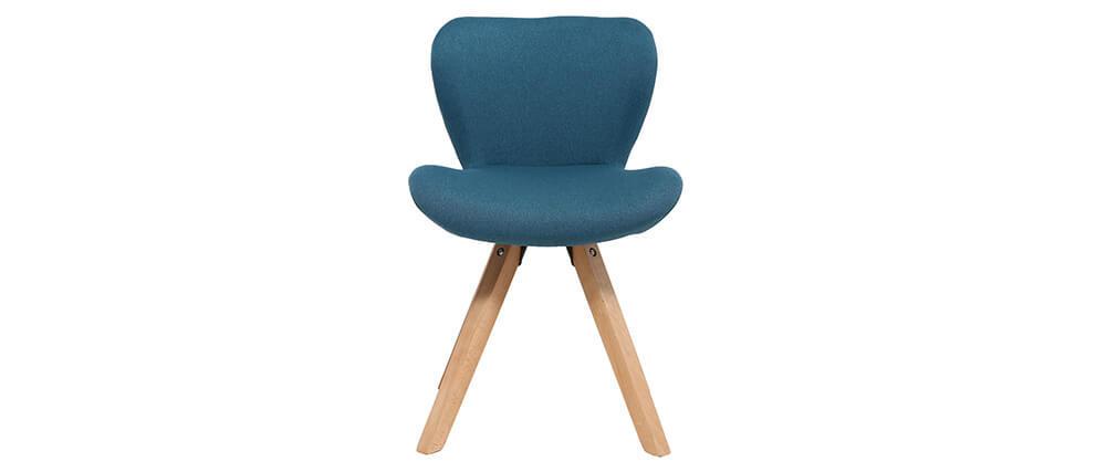 Silla escandinava tejido azul petróleo patas madera clara ANYA